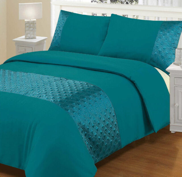 3PC Ellipse Duvet Cover with Pillow Case Quilt Cover Bedding Set TEAL All Sizes