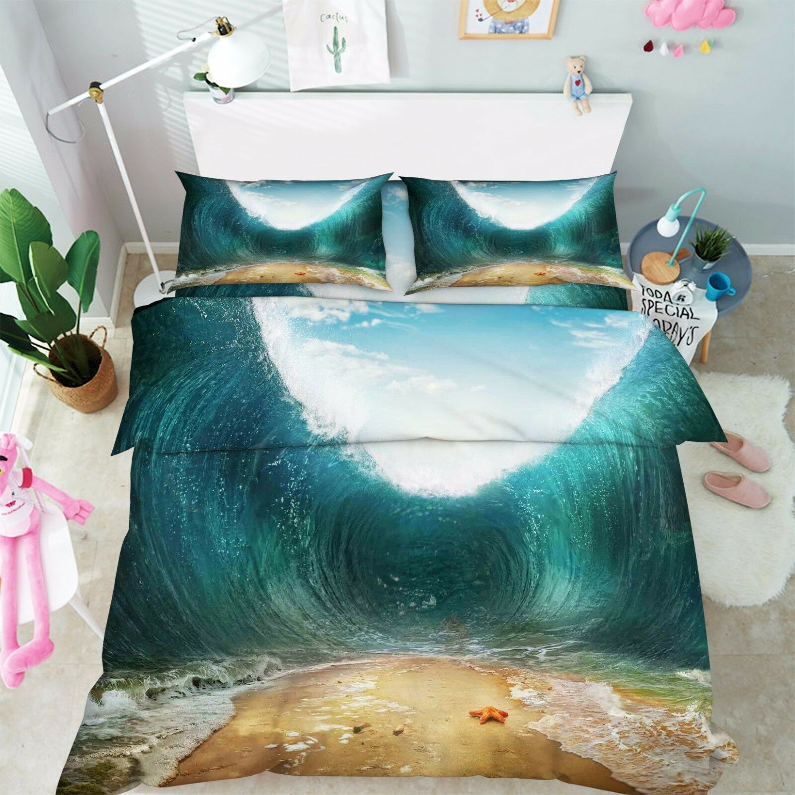3D View Waves 877 Bed Pillowcases Quilt Duvet Cover Set Single Queen UK Kyra