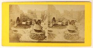 Pompei Italia Foto Stereo PL55L3n3 Vintage Albumina c1870