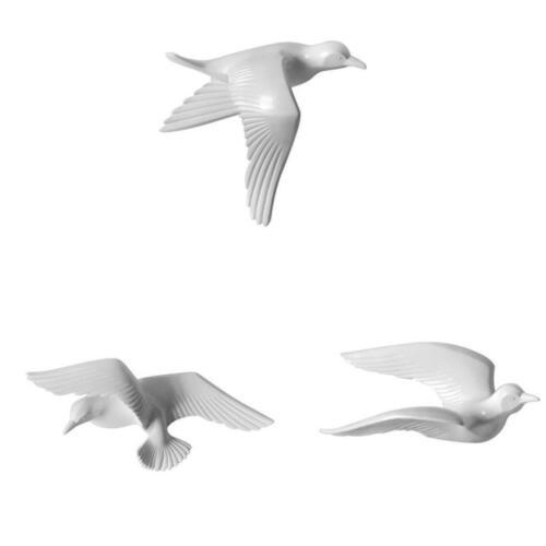 3//5Pcs Modern 3D Resin Seagull Wall Sculptures Home Decor Hanging Decor White