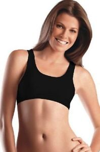 Jockey-Non-Wire-Cotton-Knitted-Sport-Bra-Style-1582-Black