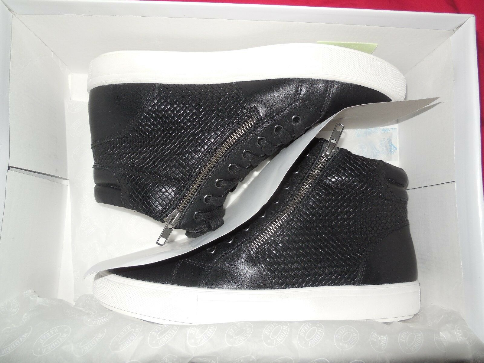Steve Madden Dexxterr Mens Black Leather High Top Sneakers Shoes Brand New Men