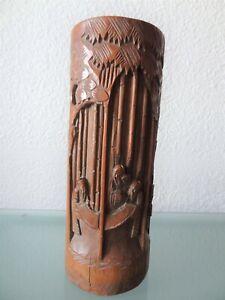 ancien-pot-a-pinceaux-bitong-en-bambou-sculpte-chine-fin-XIXeme-Debut-XXeme