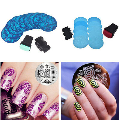 10 Nail Art tool kit Stamp Stamping Stamper Scraper Finger Polish Image Plate UK