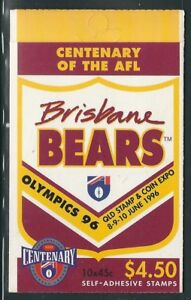 Australia-Exhibition-Booklet-4-50-Centenary-of-AFL-Brisbane-Qld-Stamp-Show-1996