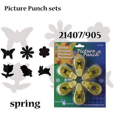 Vaessen Spring 6 Punch set Butterfly/Rabbit/daisy/flower/tulip/chick 1.5cm