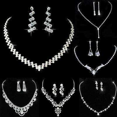Superbe Mariage Collier Boucles d/'oreilles Set Party Jewelry Crystal Star strass