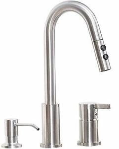 details about new 2 3 hole kitchen sink faucet pull down sprayer soap dispenser brushed nickel