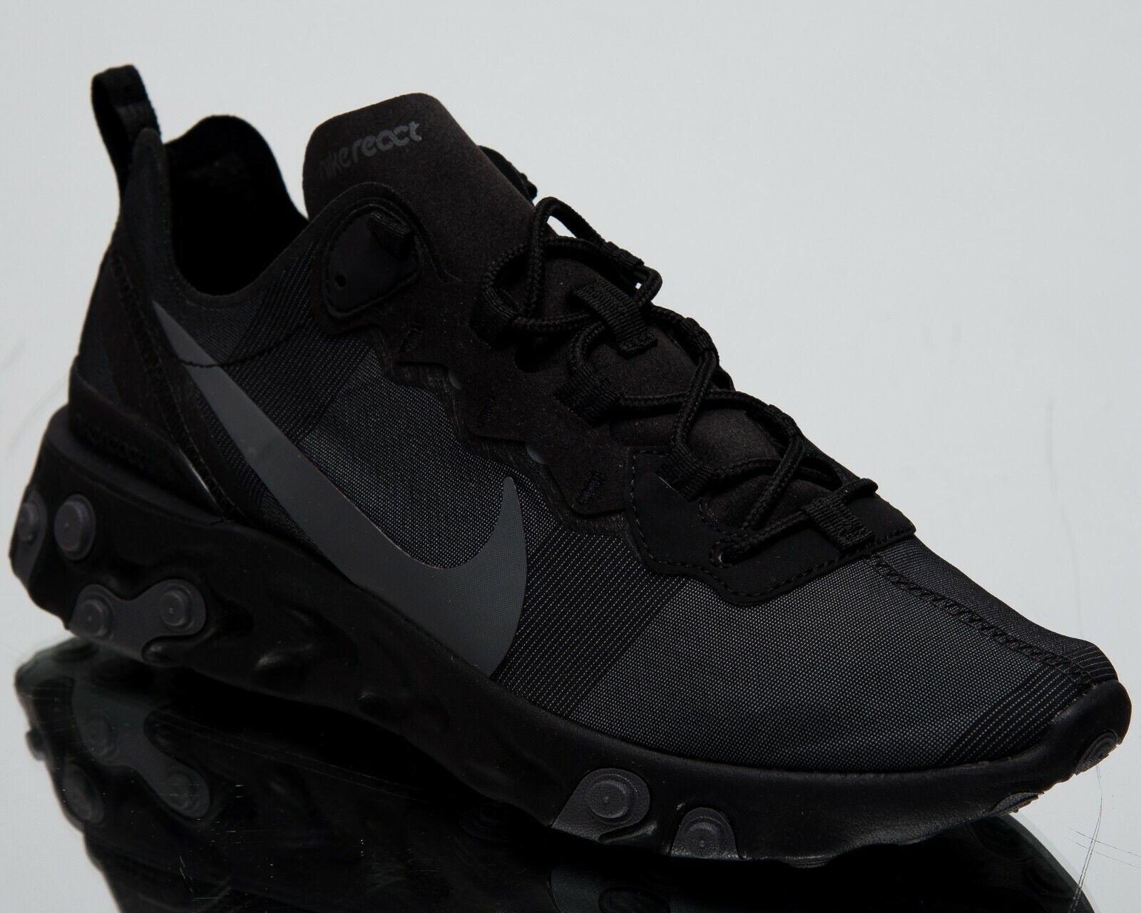 Nike réagissent élément 55 Triple noir Nouveau Messieurs Lifestyle chaussures