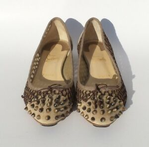 CHRISTIAN-LOUBOUTIN-Mix-Beige-Suede-Knotted-Mesh-Spiked-Toe-Ballet-Flats-38-5-GC