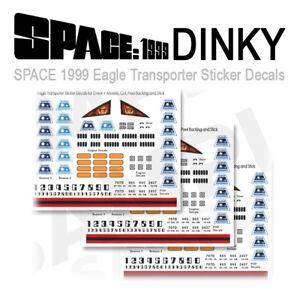 3 SETS - SPACE 1999 EAGLE TRANSPORTER - STICKER DECALS - DINKY