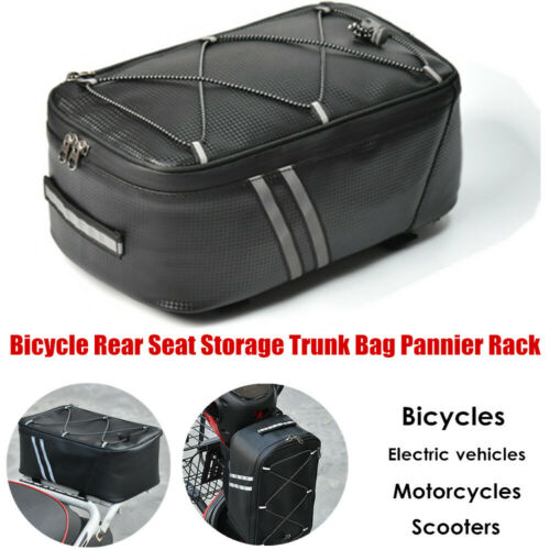 1×Motorcycle Bicycle Rear Seat Storage Trunk Bag Pannier Rack Waterproof Handbag