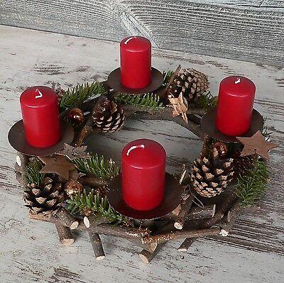 Adventskranz kupfer 30cm für Stumpenkerzen Advent Holzkranz Weihnachten Holz