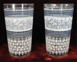 2-Patrician-Tumblers-Jeannette-Glass-AS-IS-Roman-Decals-Mid-Century-O