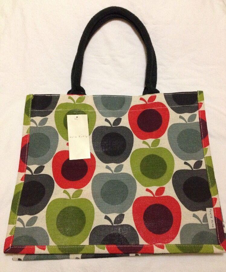 Orla Kiely Apple Tote Bag Tesco 2015 Shopper bluee White Gift Multi Green Jute