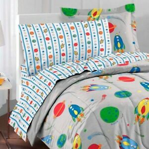 New 5pc Outer Space Rocket Ship Twin Bed In Bag Children