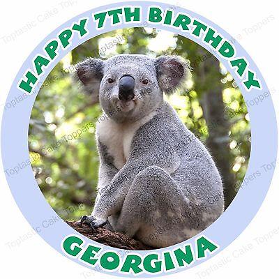 Enjoyable Personalised Koala Bear Round Edible Icing Jungle Birthday Party Funny Birthday Cards Online Hetedamsfinfo