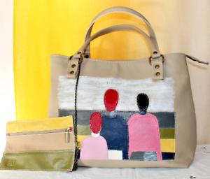Handtasche-Leder-beige-Rot-gelb-Malewitch-ledertashe-Italienisch-Handgefertigt
