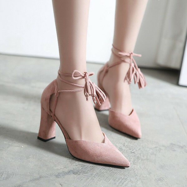 Court shoes women's shoes pink heel square 9 cm like leather elegant 9688