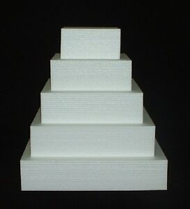 5pc CAKE DUMMY Set 4 Thick EPS Foam SQUARE 68101214 Wedding - Wedding Cake Dummy