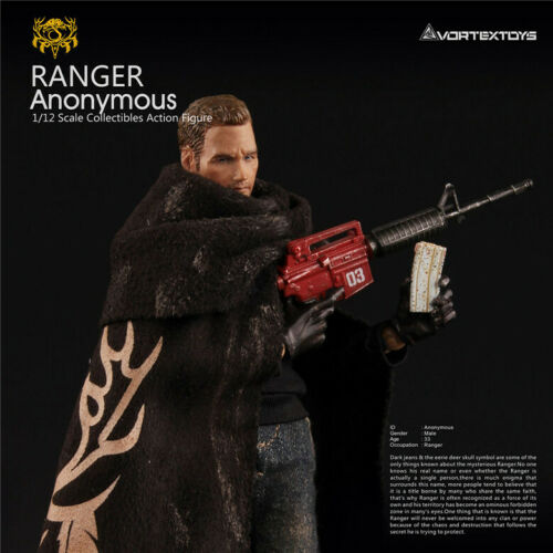 """Vortextoys 1//12 RANGER anonime Figure Set V00012 6/"""" MASCHIO Bambola Accessorio"""