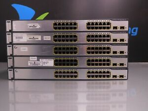 LOT-OF-5x-Cisco-Catalyst-WS-C3750-24PS-S-24-Port-10-100-PoE-Switches