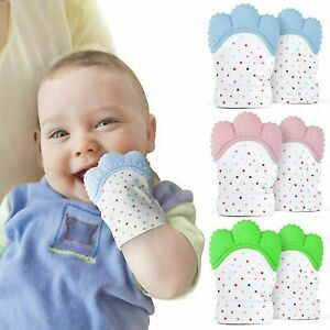 UK Baby Silicone Teething Mitten Glove Mitts Kids Soft Teether Candy Wrapper