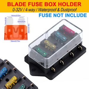 Details about 12V 24V 4 Way Blade Fuse Box Holder Auto Car Van Marine on