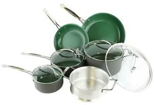 Telebrands-Orgreenic-10-Piece-Anodized-Non-Stick-Kitchen-Cookware-Set-Green
