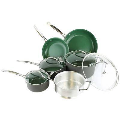 Telebrands Orgreenic 10-Piece Anodized Non Stick Kitchen Cookware Set Pans Pots
