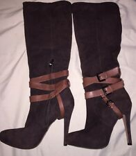 Sam Edelman Brown Suede Tall Boots with Heel Size 6 1/2 6.5