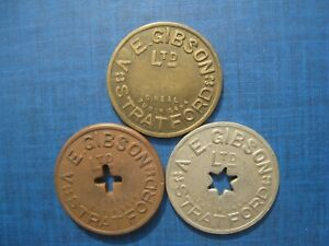Stratford Market - A E Gibson Ltd 5s 10s & 20s tokens - C Neal, East Finchley.