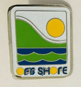Off-Shore-Brand-Beach-Waves-Design-Advertising-Pin-Badge-Vintage-C24