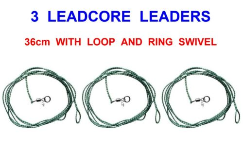 3 FLADEN LEAD CORE LEADERS SIZE 8 ROLLING RING SWIVELS FOR CARP FISHING RIGS