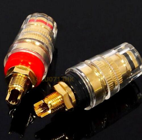 2x Large Crystal Copper Binding Post Banana Plug Amplifier Speaker Connector G2L