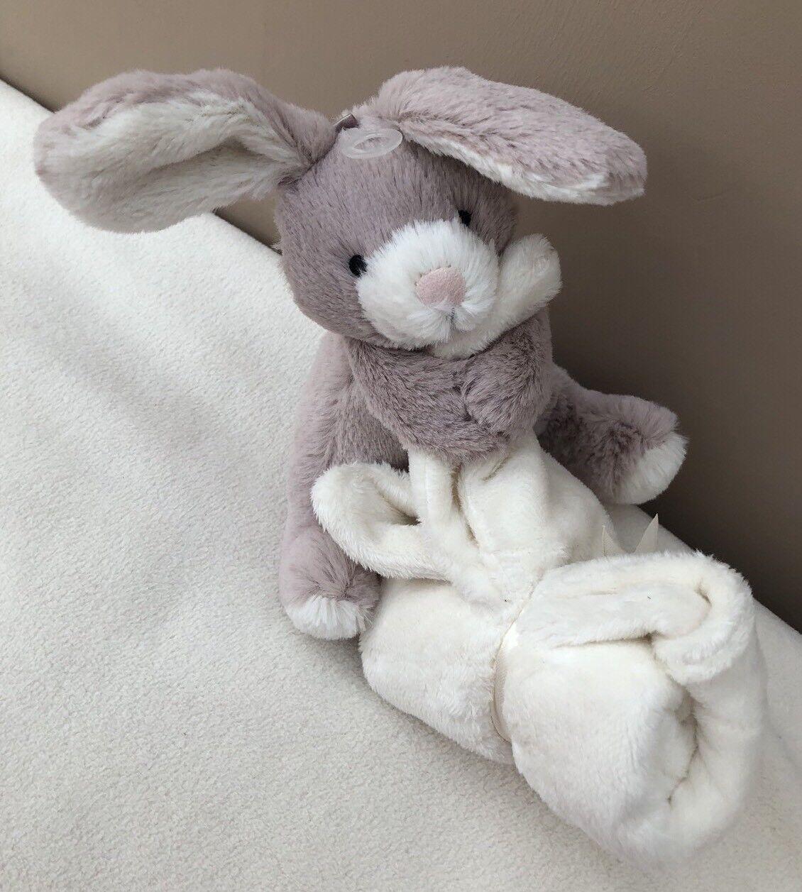NEW Jellycat Soppy Bunny Rabbit Comforter Blanket Soother Baby Soft Toy Beige BN
