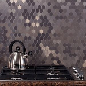 Image Is Loading Aspect L And Stick Backsplash Honeycomb Matted Metal