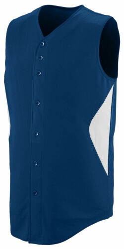 Augusta Sportswear Men/'s Sleeveless Polyester Full Button Jersey Shirt 1652