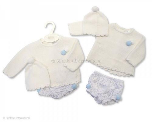 Bébé Garçons Filles Adorables Espagnol Style POM POM Pull Jam Pantalon /& Chapeau Costume