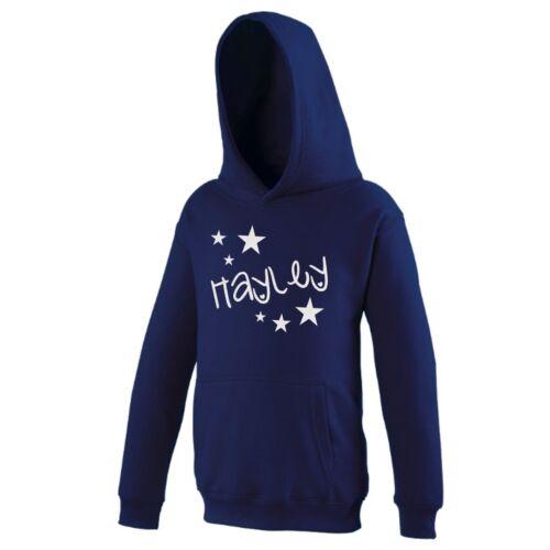 Girls Personalised Glitter Star Hoodie 3-13 Years Customised Printed Name Top