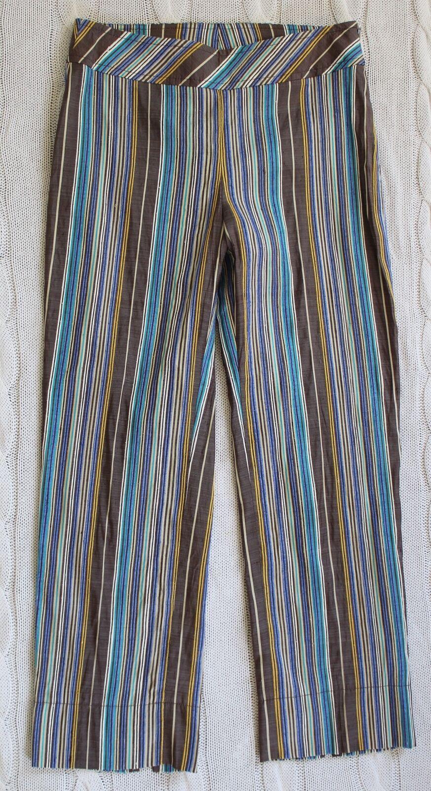 NWT  470 AKRIS PUNTO 100% Silk Shantung Striped Trouser Pants Cropped, Size US 4