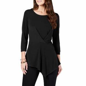 ALFANI-NEW-Women-039-s-3-4-Sleeve-Solid-Twist-front-Blouse-Shirt-Top-TEDO