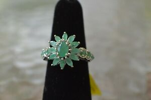 1-85ct-Socoto-Emerald-Floral-Ring-Platinum-over-Sterling-Silver-Size-5