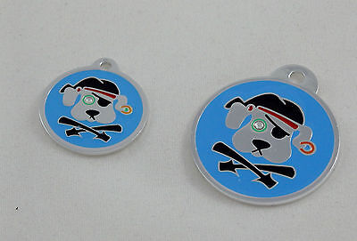 Round Pirate dog crystal eye pet  Tag, Top quality, free personalized engraving