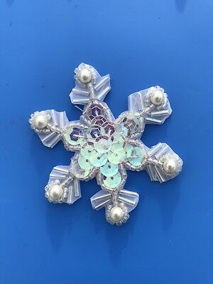 XR72 Crystal AB Pearl Snowflake Beaded Sequin Applique