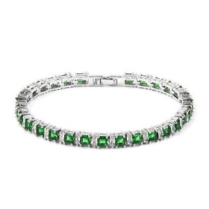 Simulated-Emerald-Simulated-Diamond-Silvertone-Tennis-Bracelet-7-50-In-15-ct
