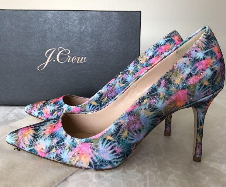 NEU J.Crew Elsie Pumps Glitter Palm Tree Heels Classic Schuhes Größe 7 #F1192 Work