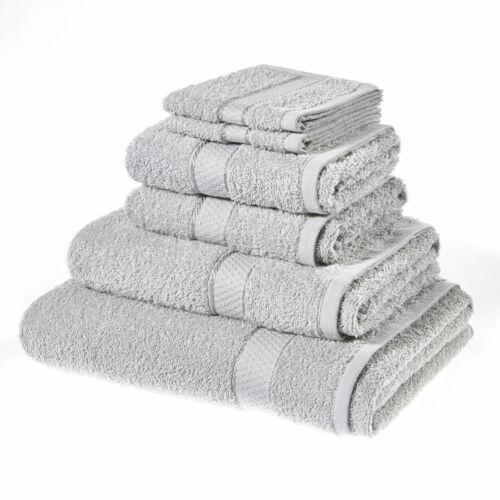 6 pc Serviettes 100/% Coton Égyptien Bale Ensemble de serviettes main salle de bain argenté 500GSM face