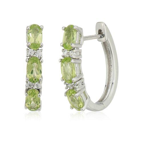 Pinctore Sterling Silver Peridot Small Hoop Earrings