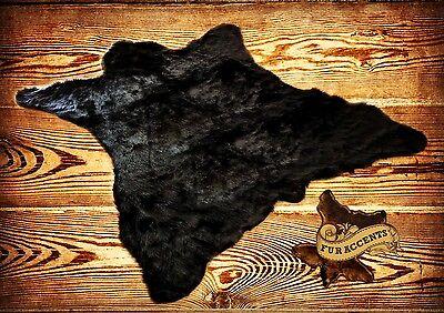 FUR ACCENTS Bear Skin Area Rug Black Shag Faux Fur 5' x 6'